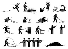 Human And Snake Pictograms Icons. Illustrations Depict People Scared, Running Away, Catch, Capture, Bitten, Swallowed, And Killing Snake.