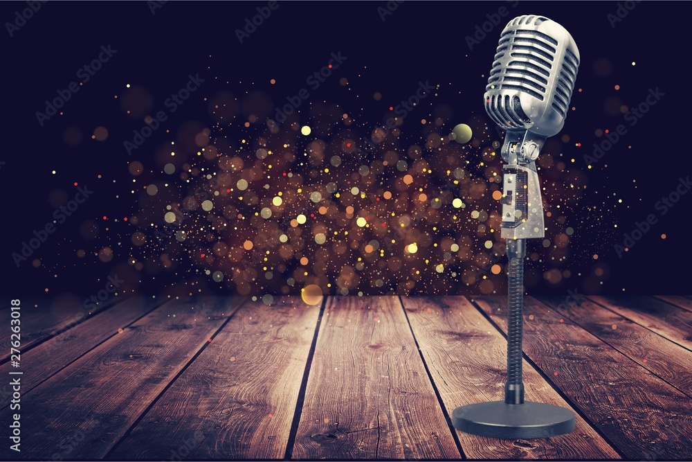 Fototapety, obrazy: Retro style microphone on  background