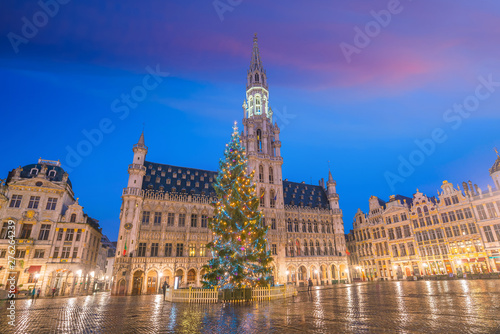 Foto op Aluminium Brussel Brussels downtown city skyline at sunset