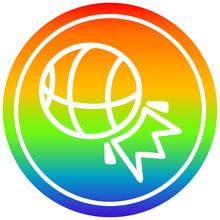 Basketball Sports Circular In Rainbow Spectrum