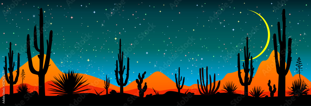 Fototapeta Starry night over the Mexican desert.Desert, cacti, stars night. Starry night over the Mexican desert. Silhouettes of stones, cacti and plants. Desert landscape with cacti. Stony desert
