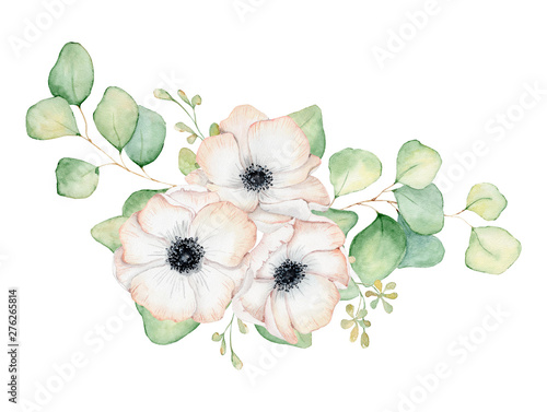 Plakaty botaniczne   anemone-flowers-and-eucalyptus-leaves-watercolor-bouquet-illustration