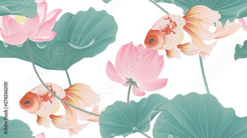 Botanical seamless pattern, pink lotus flowers and goldfish on white background, pastel vintage style