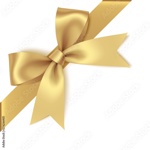 Photographie Decorative golden bow with diagonally ribbon on the corner