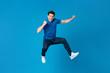 Leinwanddruck Bild - American man jumping and enyoying his success