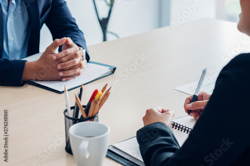 Close up interviewer interview candidate apply for job at meeting room in office Canvas Print