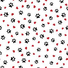 Dog Paw Seamless Pattern With ...