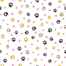 Dog Paw Seamless Pattern With Hearts Vector Footprint Kitten Puppy Heart Tile Background Repeat Wallpaper Cartoon Isolated Illustration White - Vector Illustration.