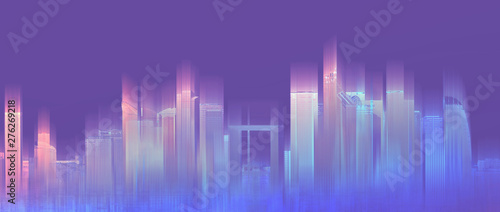 Futuristic colorful city, neon purple background. Abstract city background