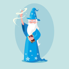 Wizard With Hat Of Fairytale Avatar Character