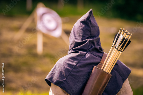 Fotografering Medieval archer with arrows on back