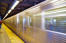 Blurred Silver New York Subway...