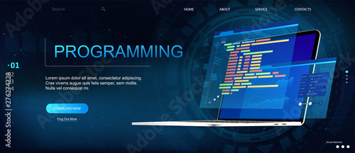 Fototapeta Programming or Software development web page template. Vector illustration with laptop isometric view and program code on screen. Programming concept. Technology process of Software development obraz