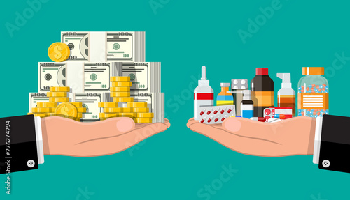 Canvas Print Hand scales with pile of money and bottles of drugs and pills