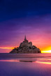 canvas print picture - Mont Saint-Michel view in the sunset light. Normandy, France