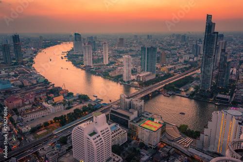 Bangkok cityscape at sunset Wallpaper Mural