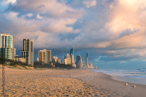 Vászonkép  Sunrise at Gold Coast beach in Australia