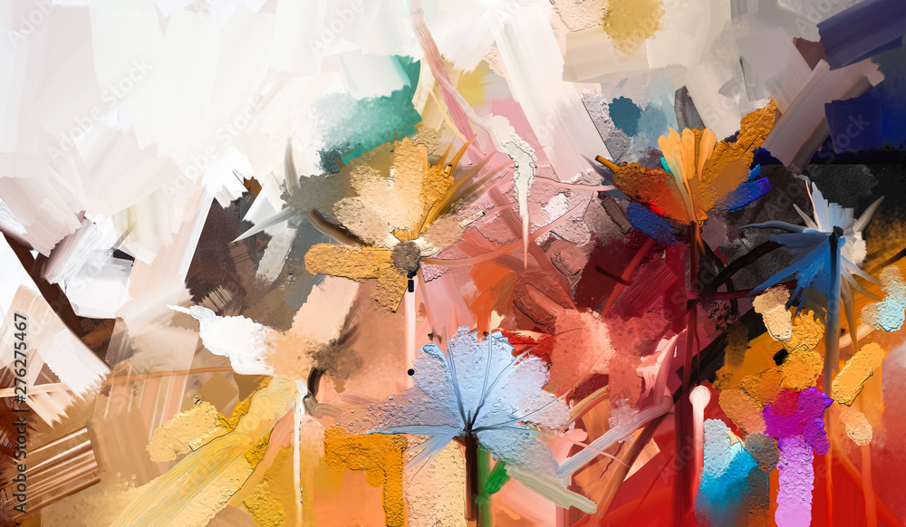 Fototapeta Abstract colorful oil, acrylic painting of spring flower. Hand painted brush stroke on canvas. Illustration oil painting floral for background. Modern art paintings flowers with yellow, red color.