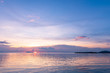 Leinwandbild Motiv Panoramic tropical  purple sky blue sea sunset with golden light background ,Koh samui pier Thailand