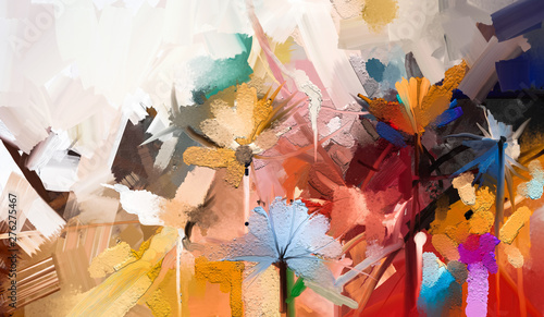 Abstract colorful oil, acrylic painting of spring flower. Hand painted brush stroke on canvas. Illustration oil painting floral for background. Modern art paintings flowers with yellow, red color. - fototapety na wymiar