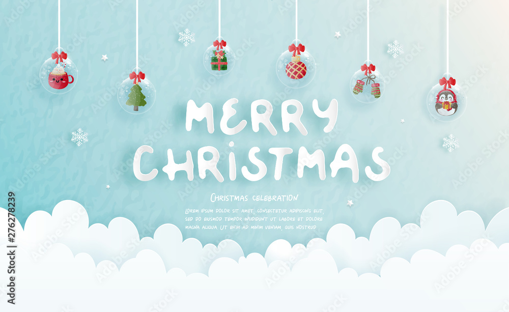 Fototapety, obrazy: Christmas celebrations for Christmas card in paper cut style. Vector illustration
