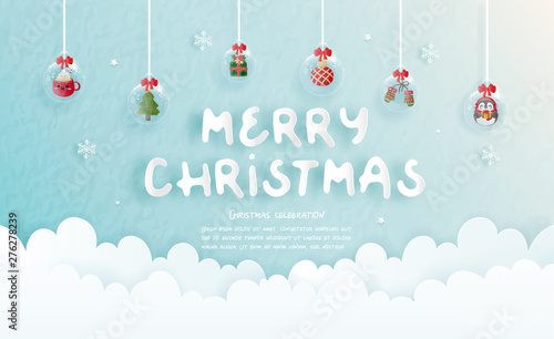 Carta da parati  Christmas celebrations for Christmas card in paper cut style