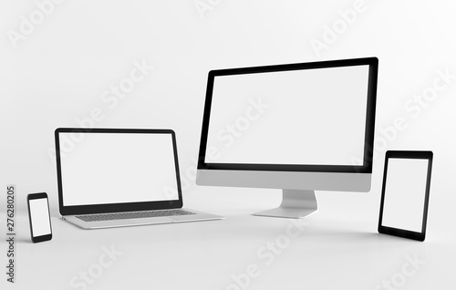 Fotografie, Obraz  Mock up view of a devices isolated on a background with shadow