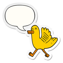 Cartoon Duck And Speech Bubble...