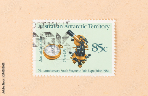 AUSTRALIA - CIRCA 1990: A stamp printed in Australia shows images of a theodolit Wallpaper Mural