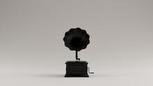 Black Vintage Gramophone 3d Illustration 3d Render