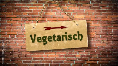 Schild 388 - Vegetarisch Canvas Print