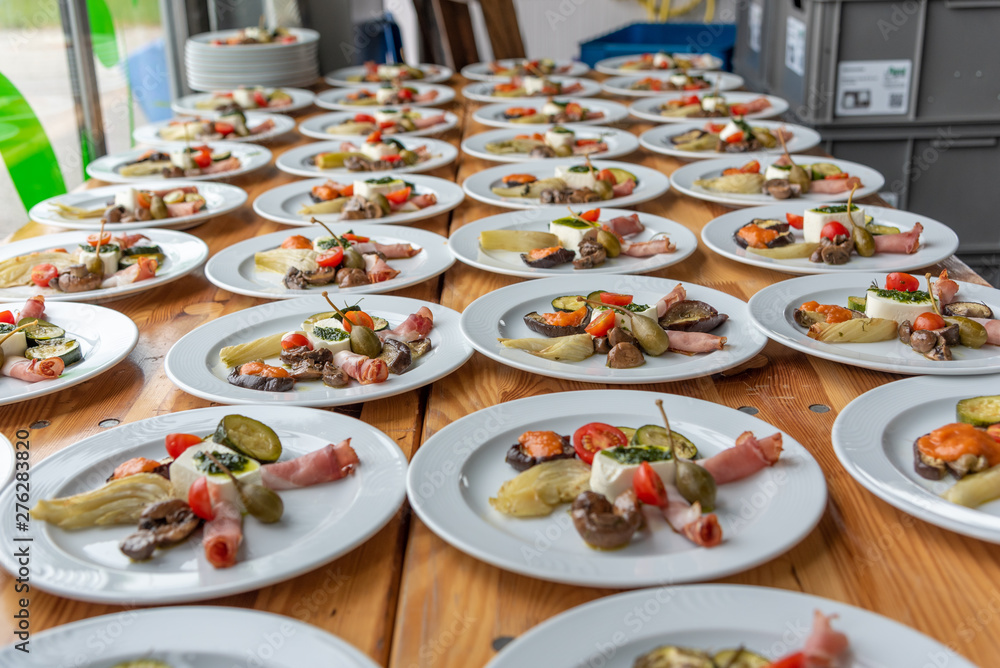 Fototapety, obrazy: plates with antipasti appetizers