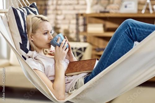 Fototapeta Woman resting in hammock obraz