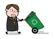 Dragging a Recycle Bin - Cartoon Priest Monk Vector Illustration
