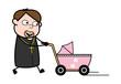 Holding a Pram and Walking - Cartoon Priest Monk Vector Illustration