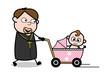 Walking with Baby Pram - Cartoon Priest Monk Vector Illustration
