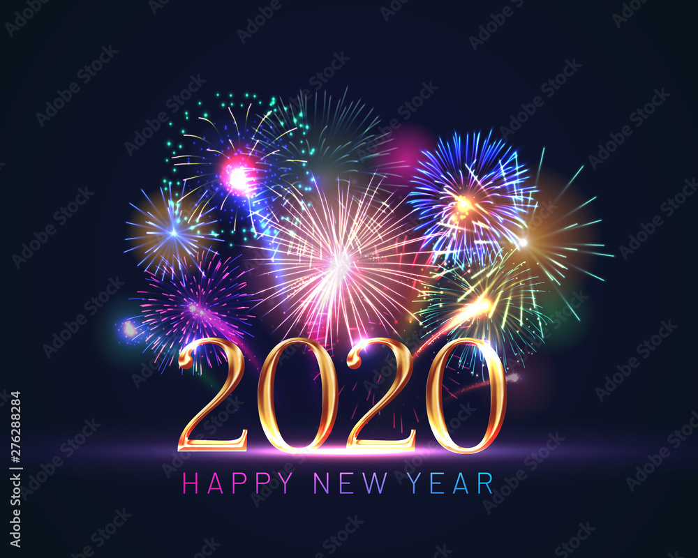 Fototapeta Happy new year greeting card with 2020 golden numbers and fireworks series. Celebratory template with realistic dazzling display of fireworks decoration on dark blue background vector illustration.