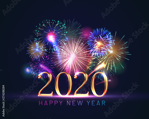Fototapeta Happy new year greeting card with 2020 golden numbers and fireworks series. Celebratory template with realistic dazzling display of fireworks decoration on dark blue background vector illustration. obraz