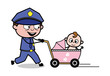 Walking with Baby Pram - Retro Cop Policeman Vector Illustration
