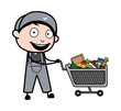 Shopping Cart - Retro Repairman Cartoon Worker Vector Illustration