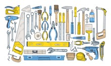 Bundle Of Manual And Powered Tools For Handcraft And Woodworking. Set Of Equipment For Home Repair And Maintenance Isolated On White Background. Colorful Hand Drawn Realistic Vector Illustration.