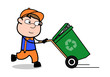 Running with Recycle Bin - Retro Cartoon Carpenter Worker Vector Illustration