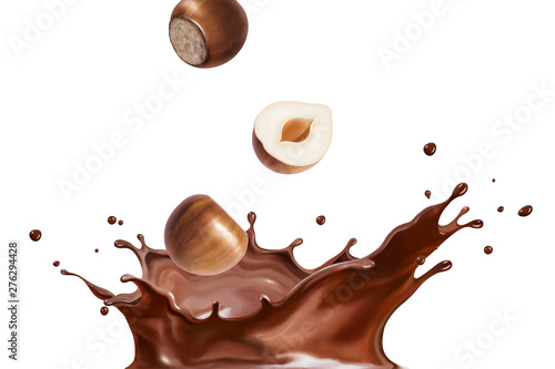 Splashing chocolate liquid Fototapet