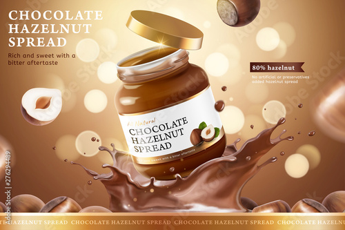 Valokuva  Chocolate hazelnut spread ads