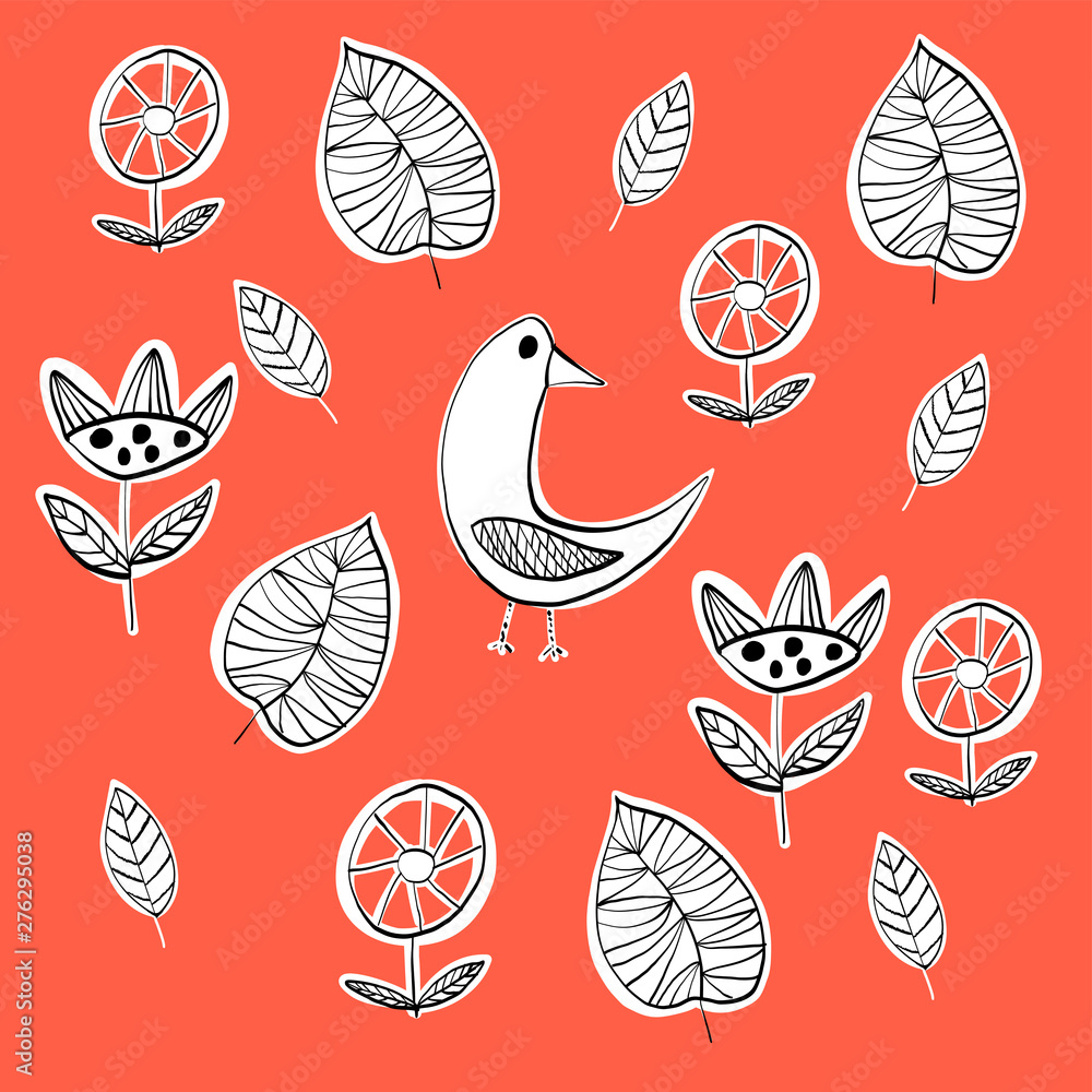 Simple scandinavian pattern primiyive naive style minimalistic and cute