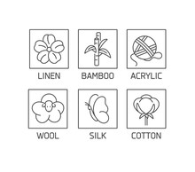 Vector Set Of Linear Icons And Badges For Natural Fabric. Organic And Eco-friendly Manufacturing. Collection Symbol Of Natural Certified Producing Of Clothes.