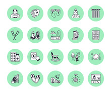 Elderly Care Vector Flat Line Icons. Nursing Home - Old People Activity, Wheelchair, Health Check, Hospital Call Button, Grandfather, Grandmather, Doctor, Senior Assisted Living
