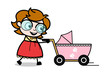 Holding a Baby Stroller and Walking - Teenager Cartoon Intelligent Girl Vector Illustration