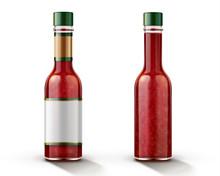 Hot Chili Sauce Bottle Mockup