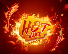 Hot Sauce With Burning Fire